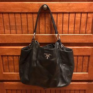 Authentic Prada black leather handbag